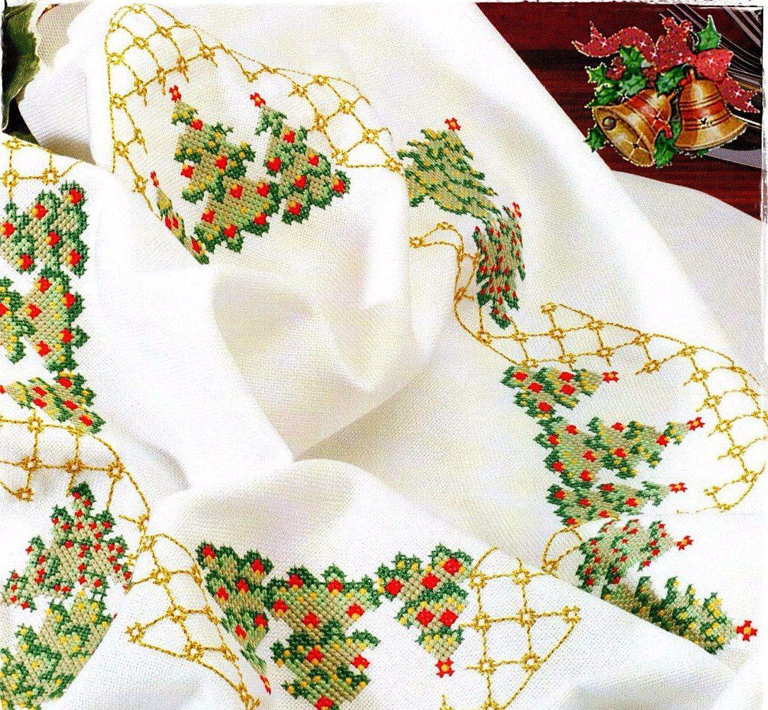 схема вышивки скатерти рождество