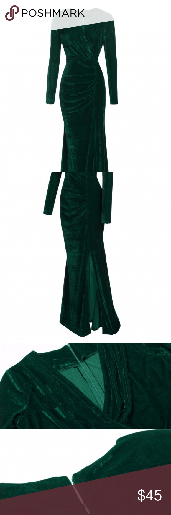 Long dark emerald green velvet dress beautiful but simple green
