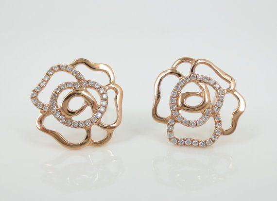 18k Rose Gold Diamond Pave Open Flower Earrings 18k Rose Gold Flower Earrings Etsy Earrings
