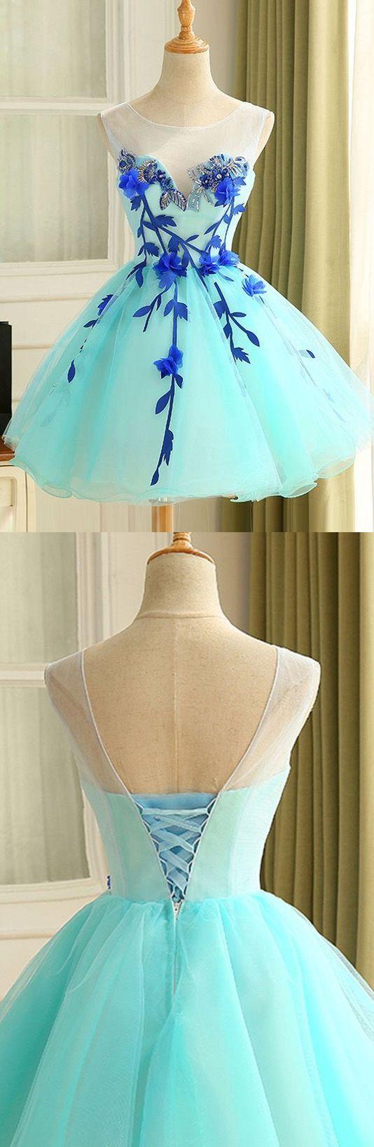 Sleeveless dresses short light blue prom homecoming dresses with