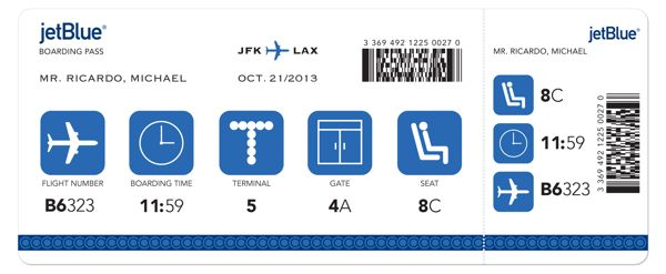 Jetblue Boarding Pass By Michael Ricardo Via Behance Aerolineas