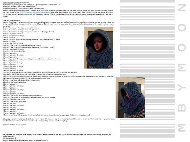 Gratis Patroon Mbymoon Hoody Colsjaal Online Haken Pinterest