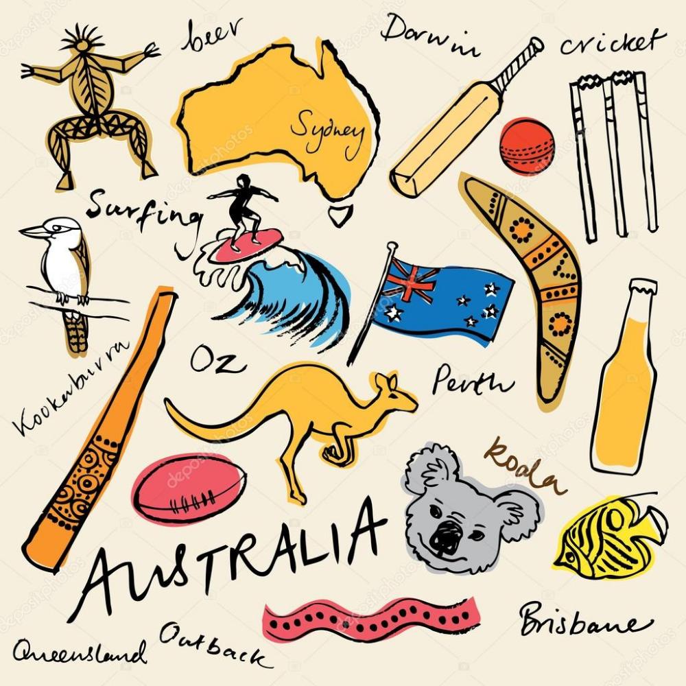 Descargar Coleccion De Iconos De Australia Ilustracion De Stock In 2020 Reisetagebuch Kunst Ideen Ideen