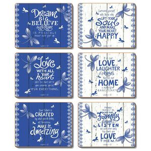 Indigo - Set of 6 Placemats and Coasters by Lisa Pollock