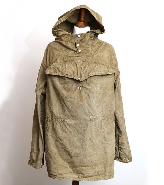19c90f0cd9c Vintage 1970s Military Green Canvas Anorak. Used. In very good vintage  condition. Size M Length  27 chest  45 Sleeve  23 Each Item will be very