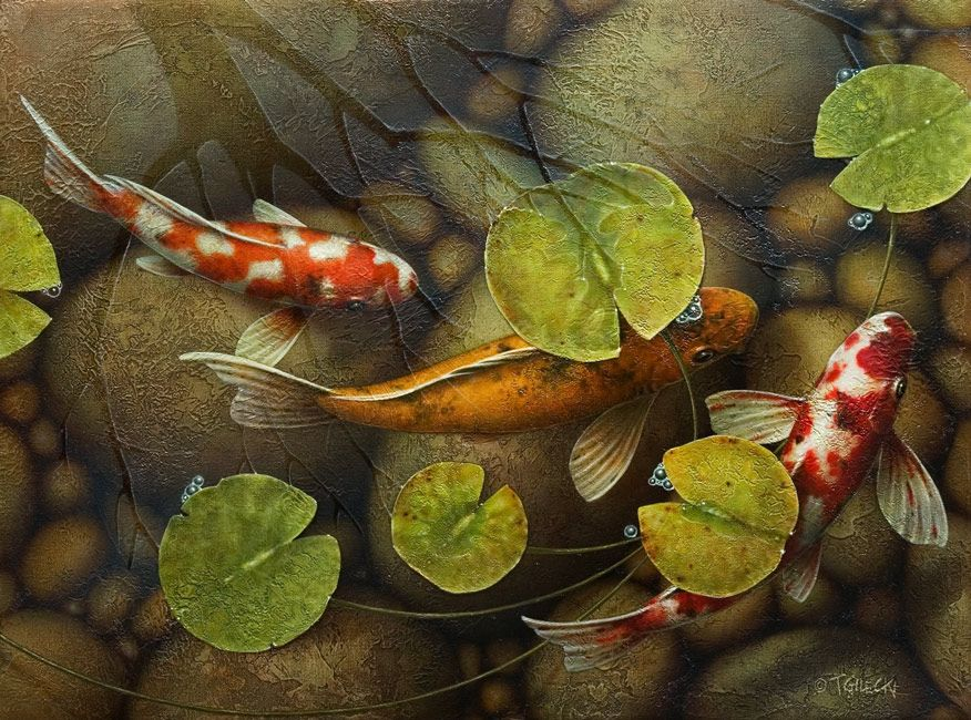 Shady pond by terry gilecki trees strength and terry o for Koi fish pond lotus