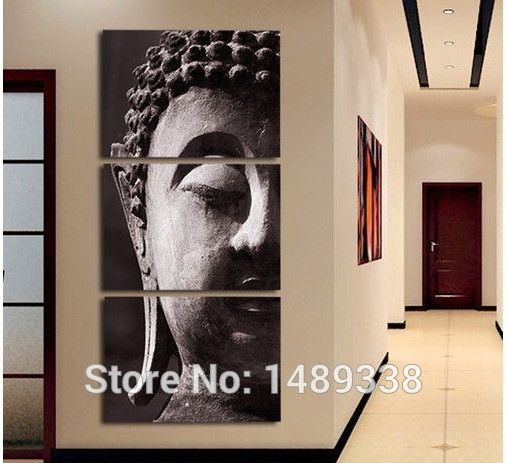 3 Panel Wall Art Religion Buddha Oil Style Painting On Canvas Framed Room Panels For Home Modern Decoration art print picture