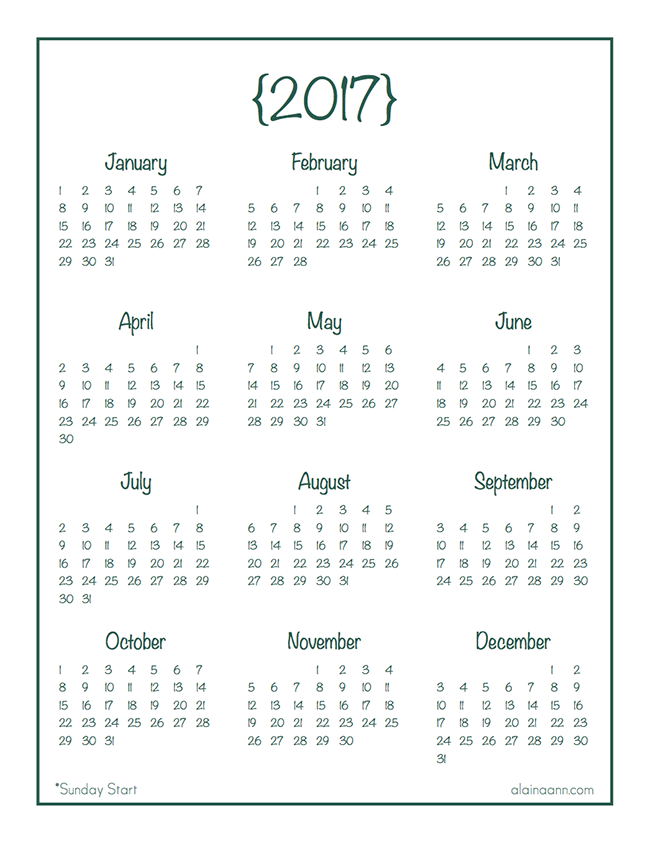 2017 year at a glance calendar free printable alaina ann my