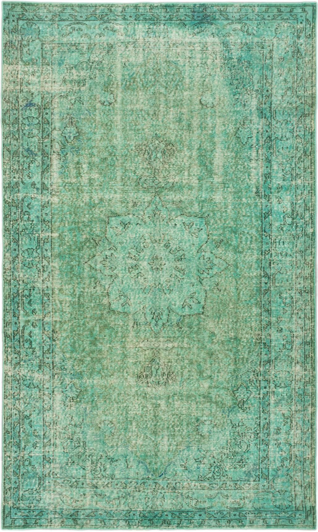 Green Vintage Turkish Overdyed Rug 5