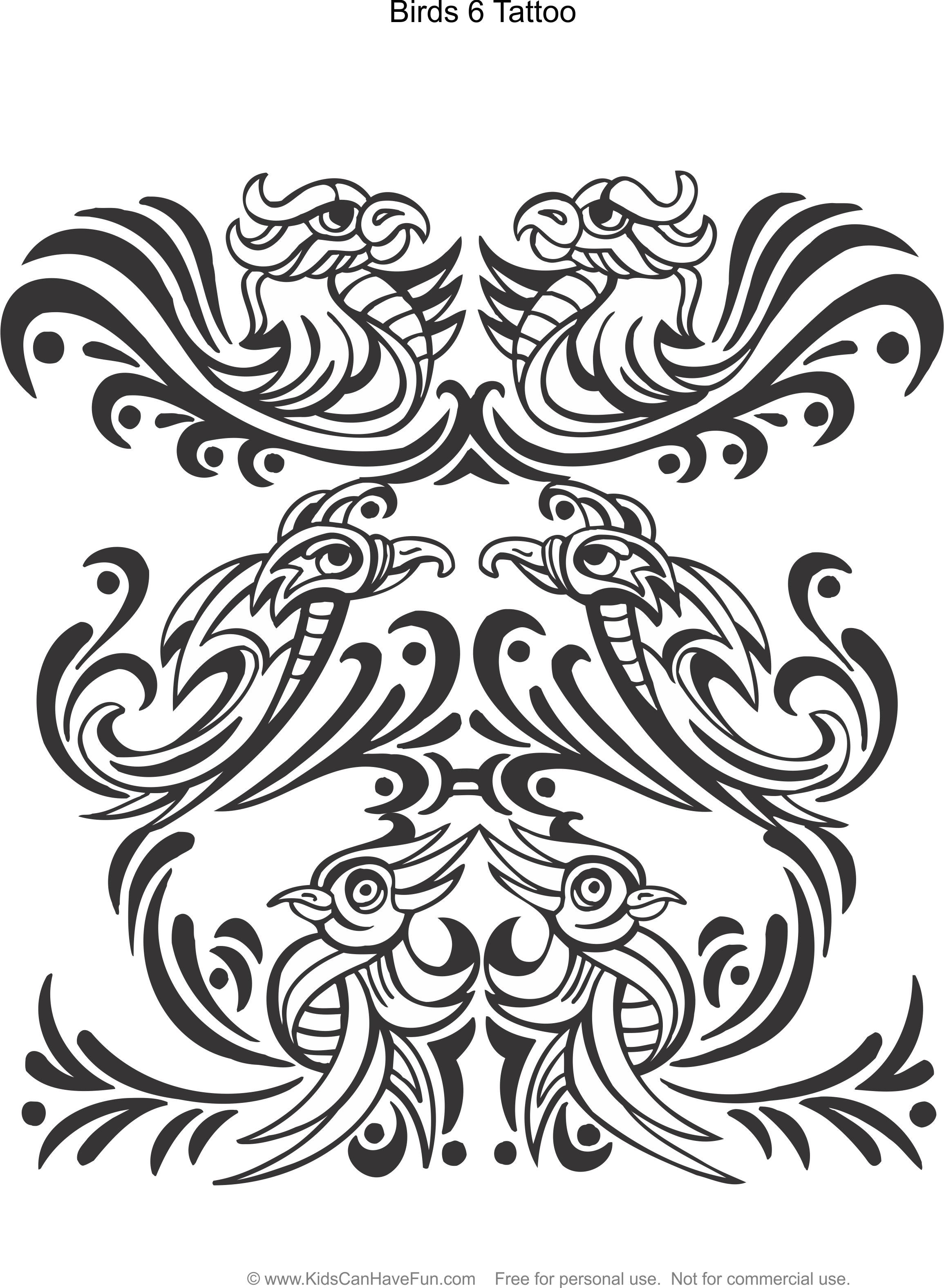 Birds 6 Tattoo Design Coloring Page Kidscanhavefun