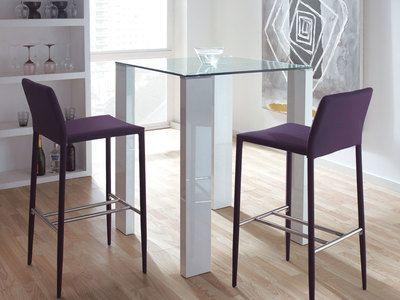 table de bar carrée en bois et verre trempé hauteur 103cm blanc
