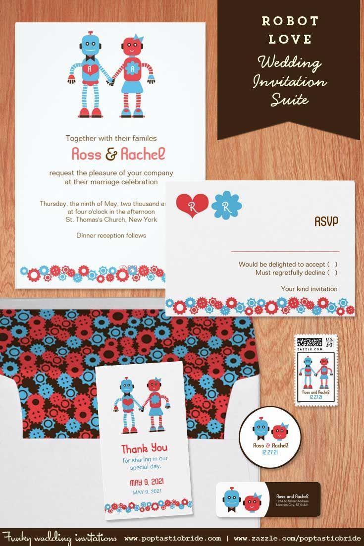 Robot theme wedding invites | robot wedding theme invitations ...