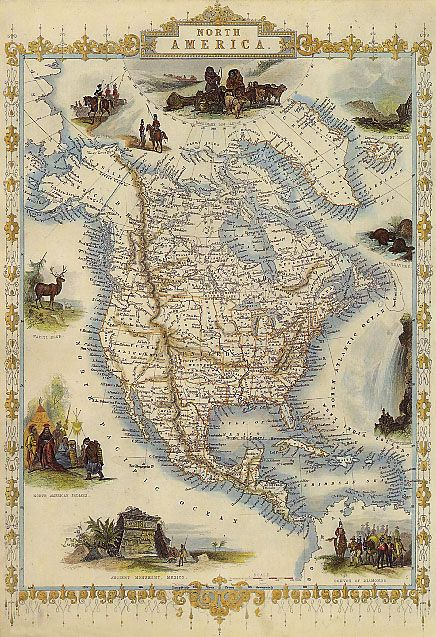 1800s map usa north america indians mexico repr poster