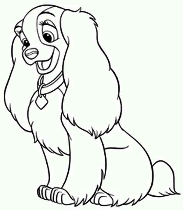 Disney Lady The Dog Coloring Page
