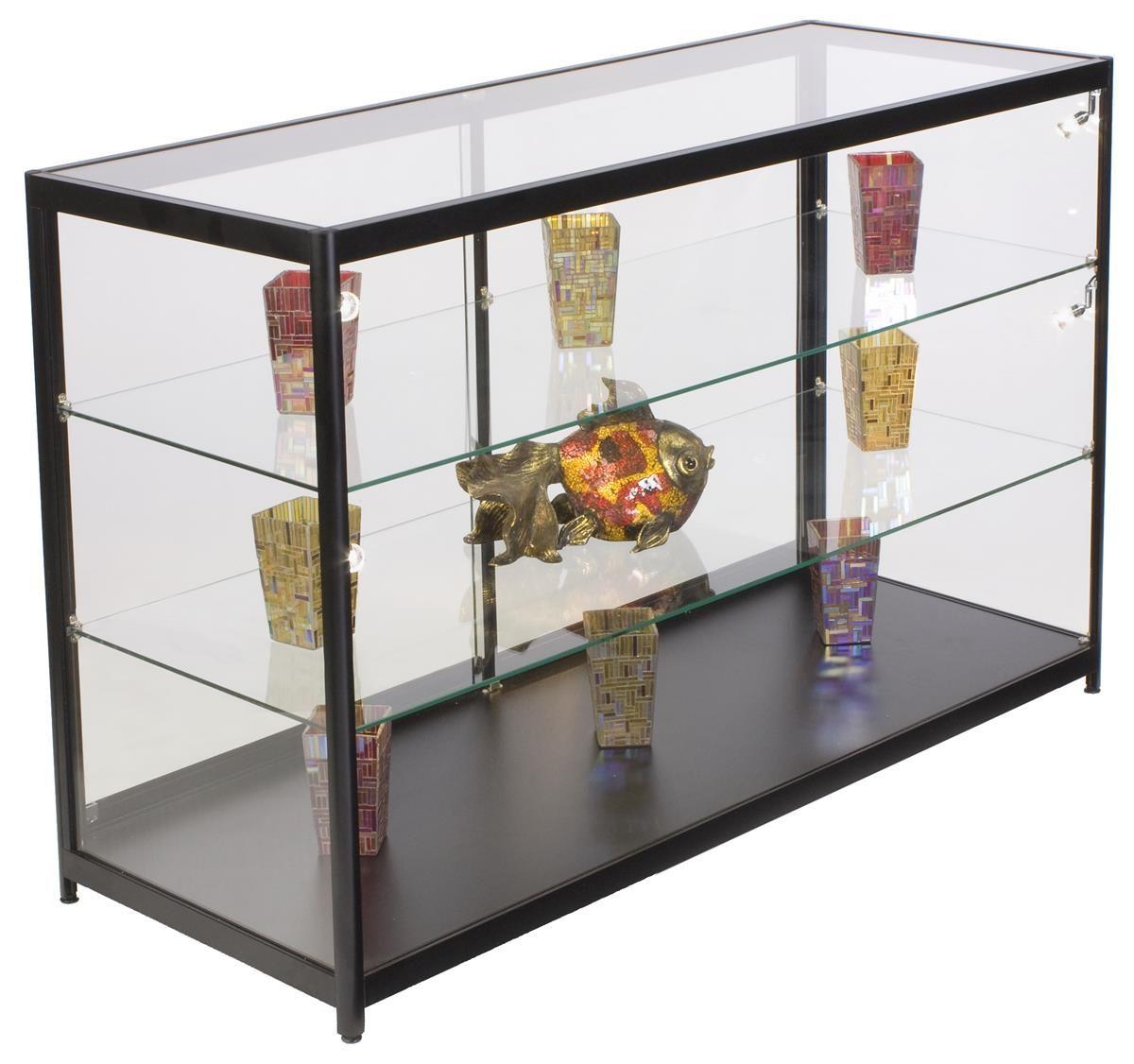48 Retail Display Case W Side Led Lights Sliding Door Ships Assembled Black Glass Shelves Shelves Adjustable Shelving