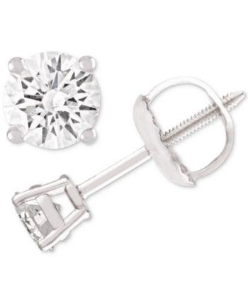 Macy S Diamond Stud Earrings 1 4 Ct T W In 14k White Gold Reviews Earrings Jewelry Watches Macy S Diamond Studs Stud Earrings White Gold Jewelry