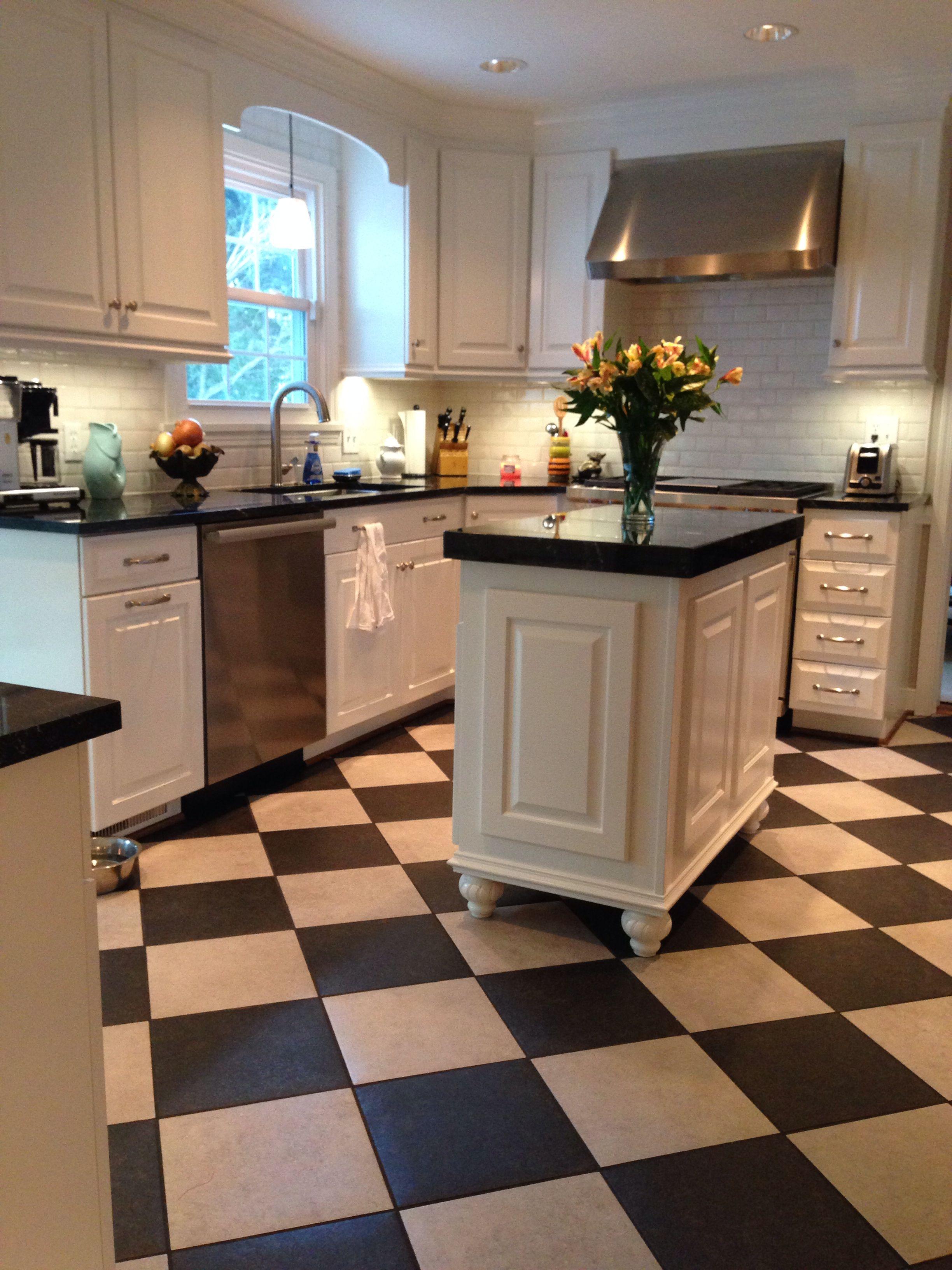 Black And White Kitchen Milky Way Granite Checker Board Floor Gray And Black D Checkered Floor Kitchen White Cabinets Black Countertops Kitchen Counter Decor Black and white checkered kitchen floor