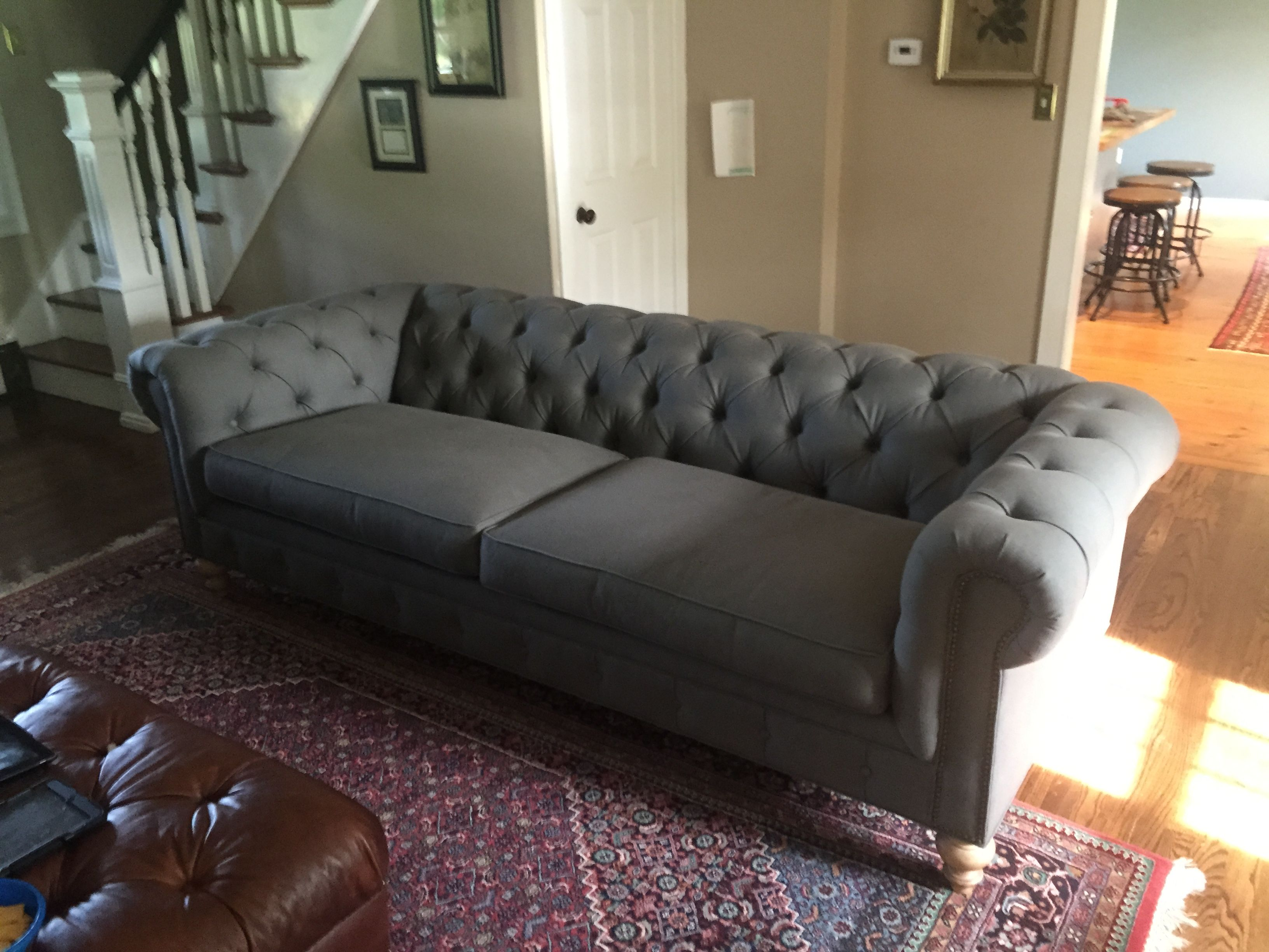 This Grey Fabric Chesterfield Sofa Is Made In The Usa By Of Iron