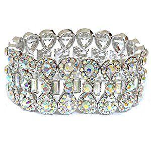 Topwholejewel Wedding Jewelry Silver Aurora Borealis Ribbon Shape Rhinestone Stretch Bracelet