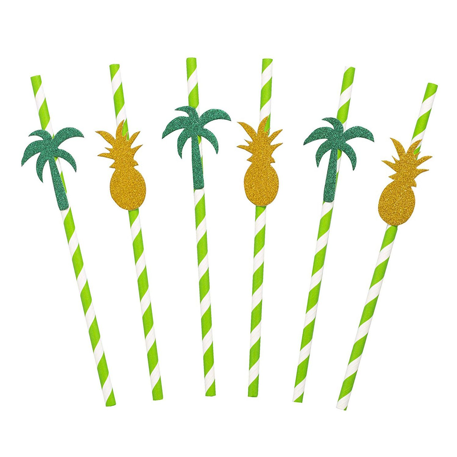 Tropical Paper Straws with Glitter Palm Tree and Pineapple Shapes and Stripes (50 Pack) #hawaiianluauparty