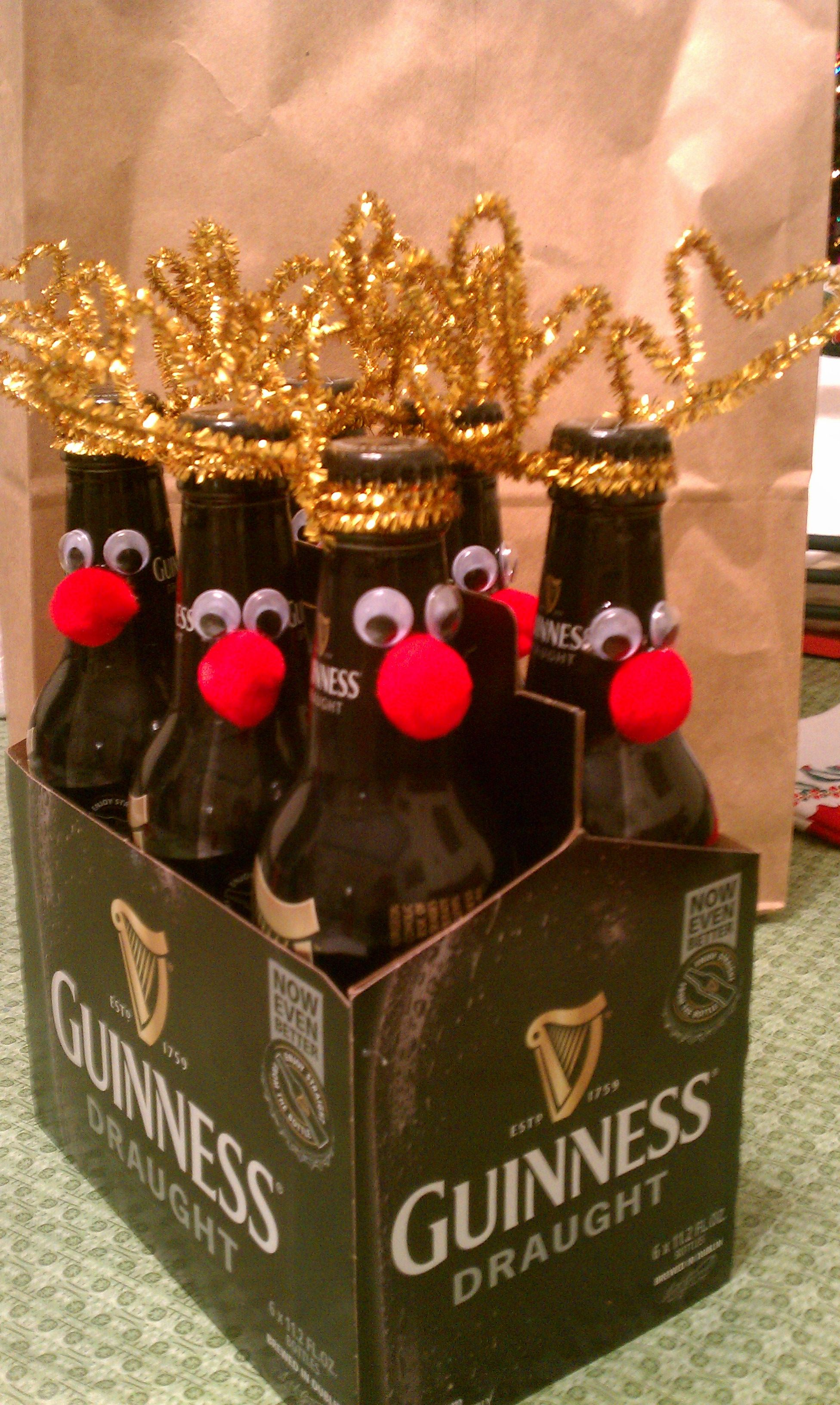 "Guinness Reindeer for Joe, from ""Sanata.""...also did with a ""Build Your Own 6 Pack"" for Dirty Santa game."
