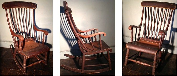 Antique furniture · c.1840s AMERICAN BOSTON ROCKING CHAIR WITH ORIGINAL  PARCEL GILT DETAIL from WWW.HUTCHISONANTIQUES - C.1840s AMERICAN BOSTON ROCKING CHAIR WITH ORIGINAL PARCEL GILT