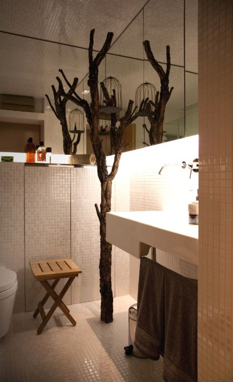 a tree grows in bathroom