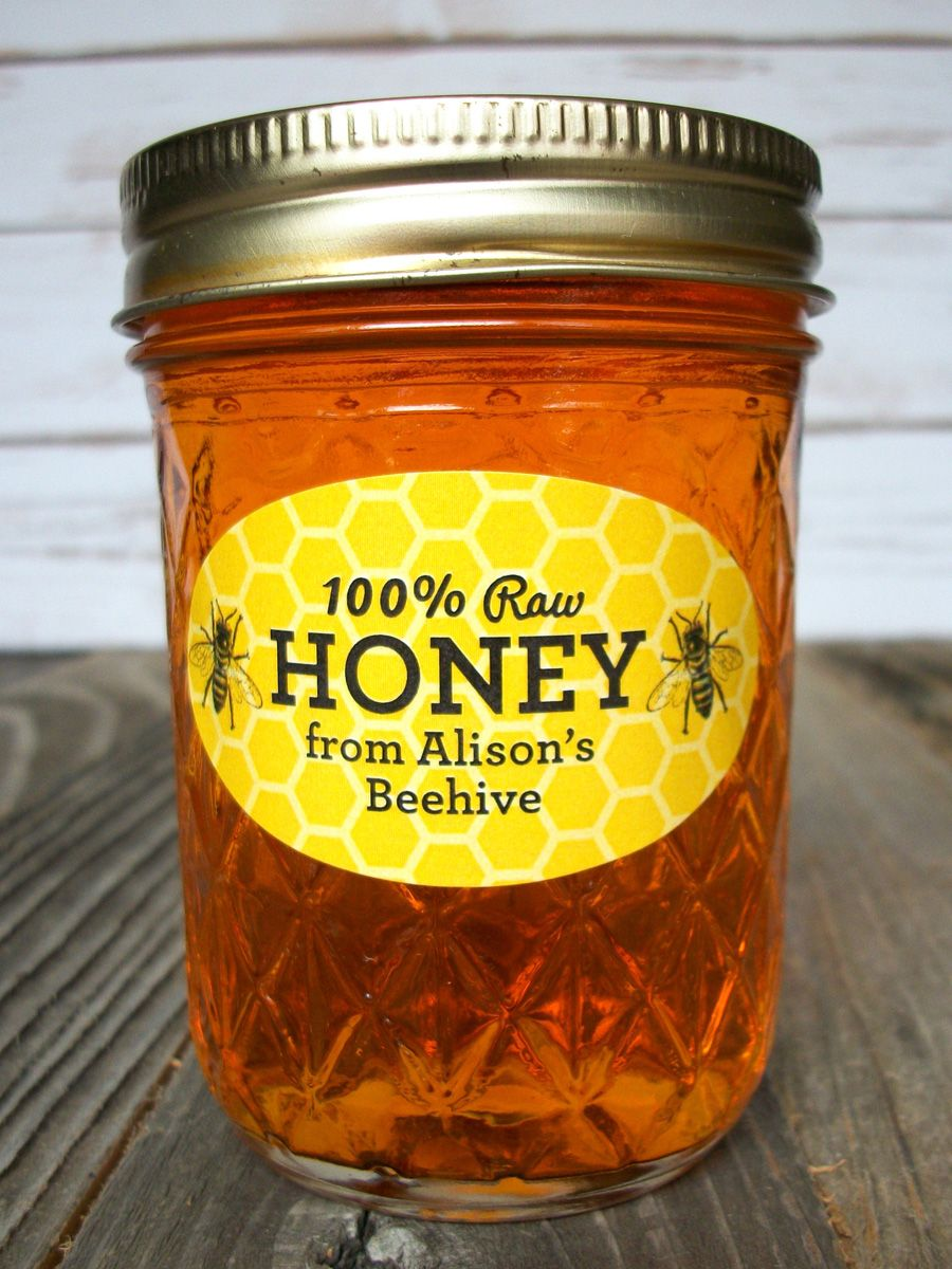 Custom yellow oval honey bee jar labels canning jar labels honey