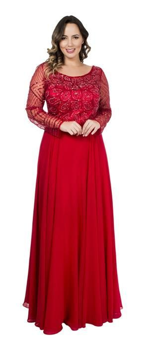 Vestido longo vermelho com renda e tule