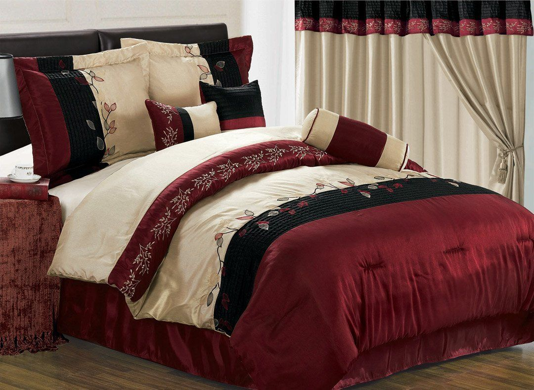 Bed In A Bag Black Red Gray Black Tan Embroidery Tree Leaf Comforter Set Bed In A Bag Queen California King Size Bed Comforter Sets Bedding Sets