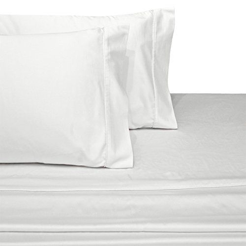 CinchFit SPLIT HEAD FLEX KING With No Rip Guarantee Adjustable Bed Sheet Set  600 Thread Count 4PC 100% Cotton (White)