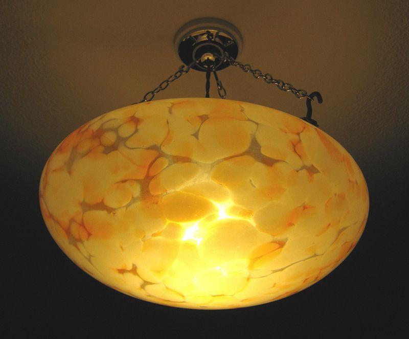 1930s Vintage Orange And White Flake Glass Bowl Light Shade