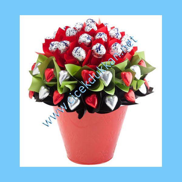 saksı da çiçek görünümlü dekoratif çikolata