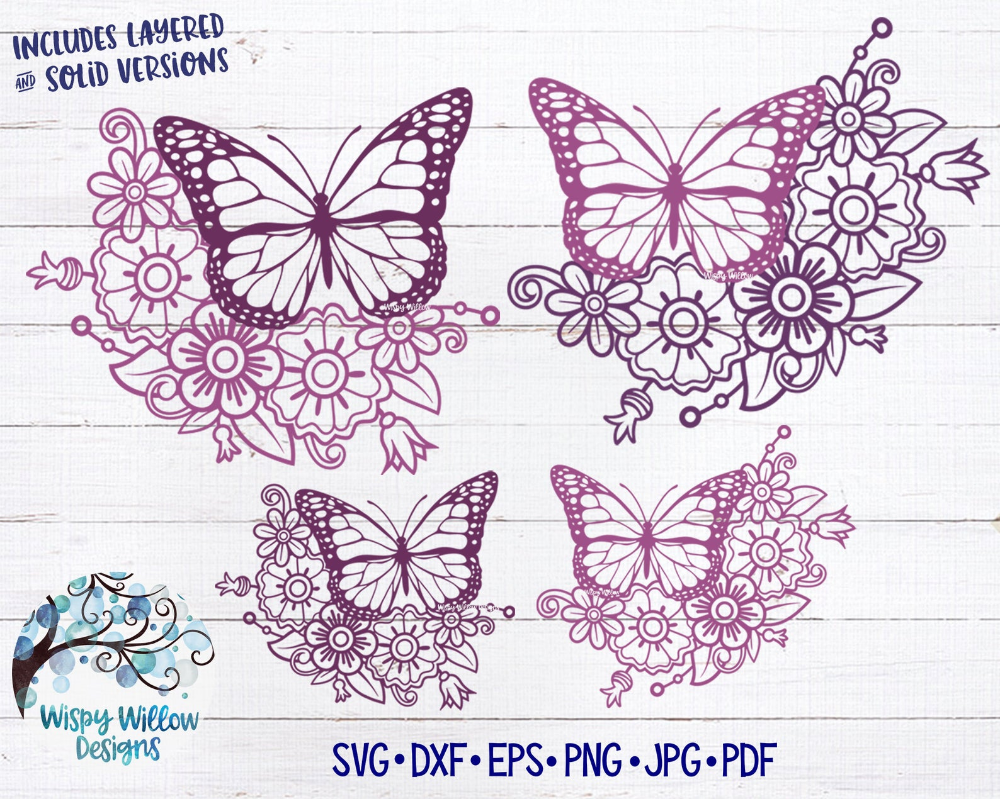 Floral Butterfly Svg Bundle Butterfly Svg Butterfly With Etsy In 2020 Butterflies Svg Butterfly Mandala Monogram Border