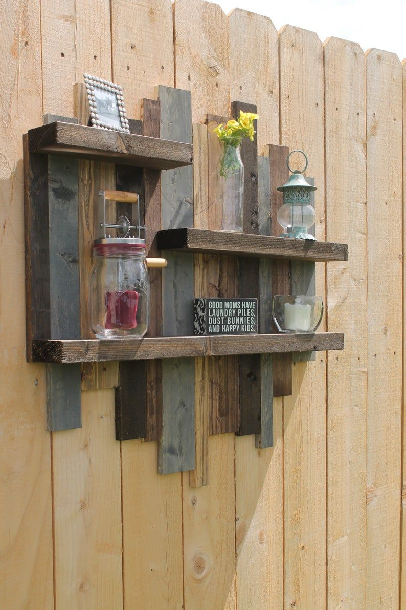 Floating Shelves Unit Rustic Wooden Hanging Decor Etsy In 2020 Rustic Wall Shelves Wooden Pallet Projects Wall Decor Design