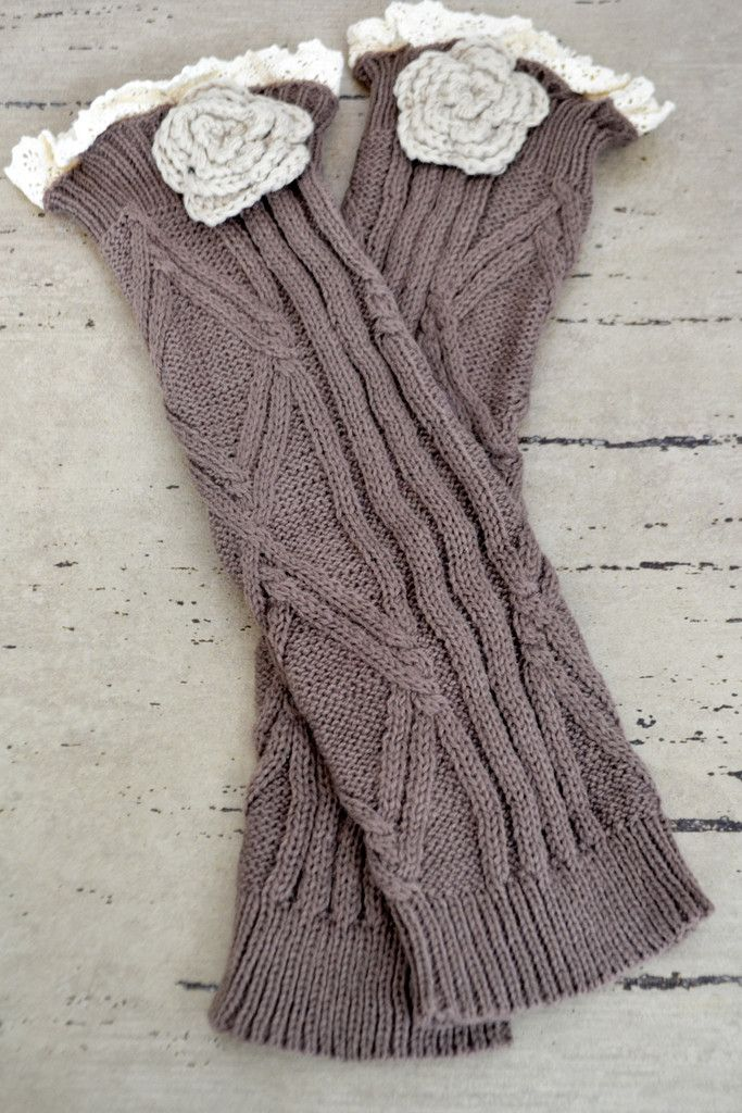Brown Knitted Leg Warmers with Flower