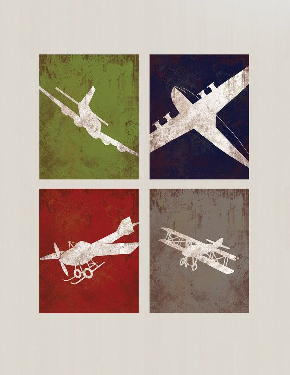 Aviation Wall Decor vintage airplane aviation print series wall decor - childs room