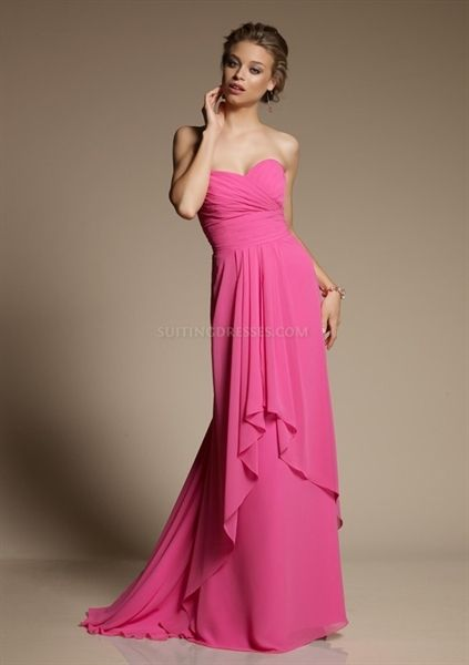 Fuchsia Bridesmaid Dresses, Long Chiffon Bridesmaid Dresses, Prom Gown