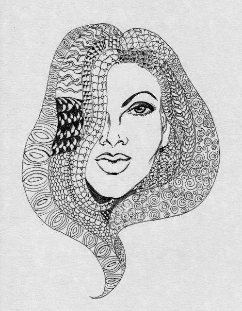 redman - zentangle doodle girl