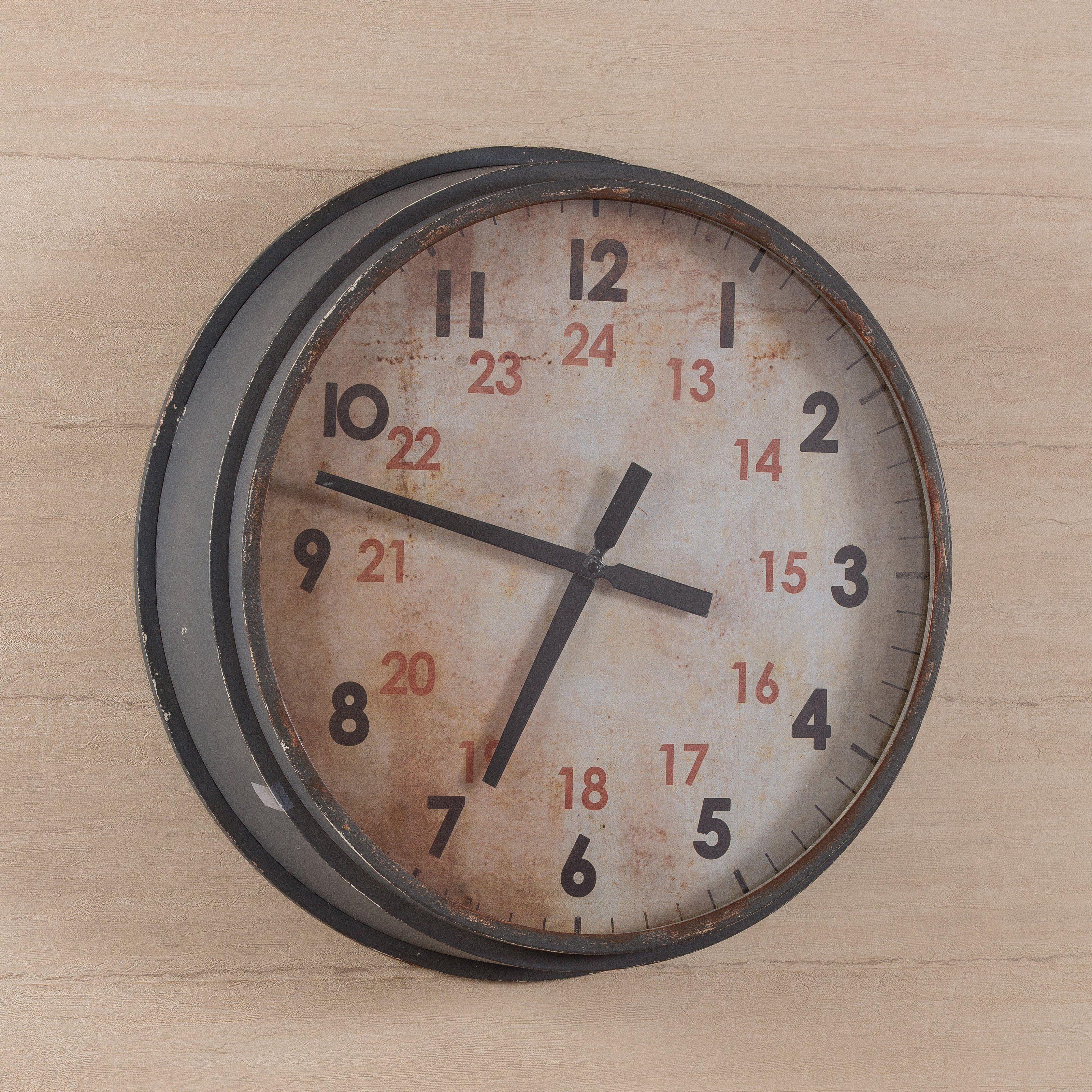 Cooper Classics Industrial Oversized Wall Clock From Hayneedle Com Large Round Wall Clock Clock
