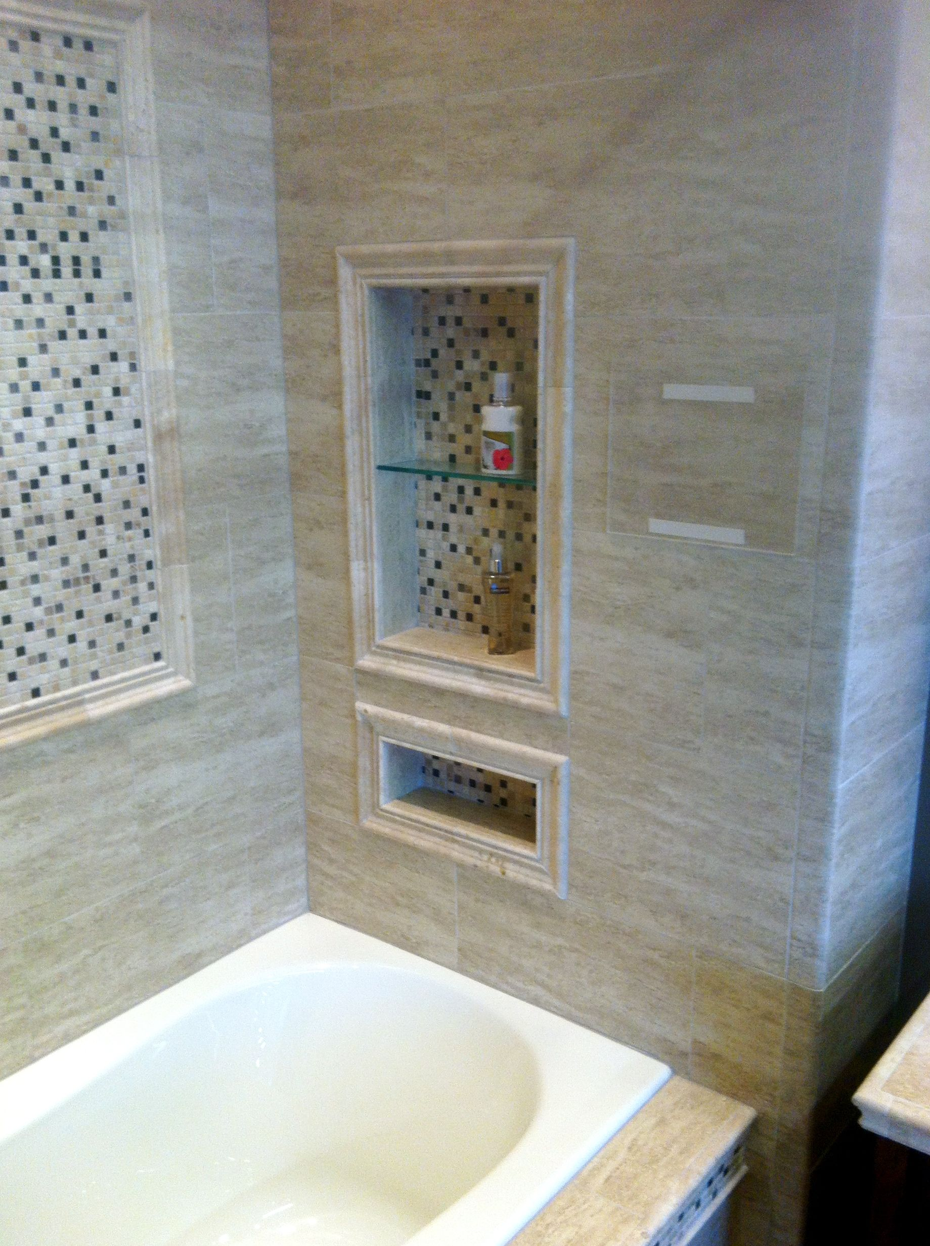 Tile around tub, bullnose, mosaic, and larger tile | Bubble Bath ...