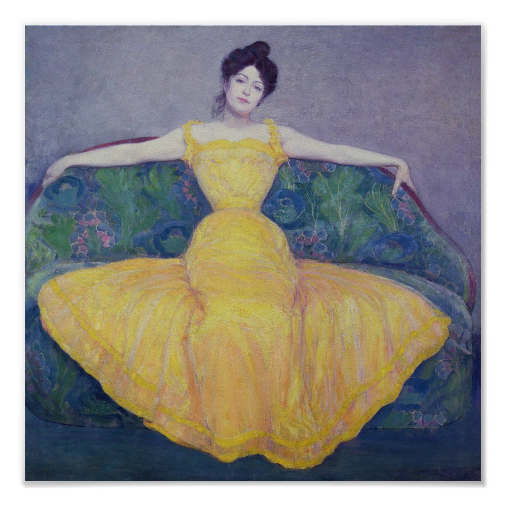 Lady In A Yellow Dress 1899 Poster Zazzle Com Painting Blog Yellow Dress Art
