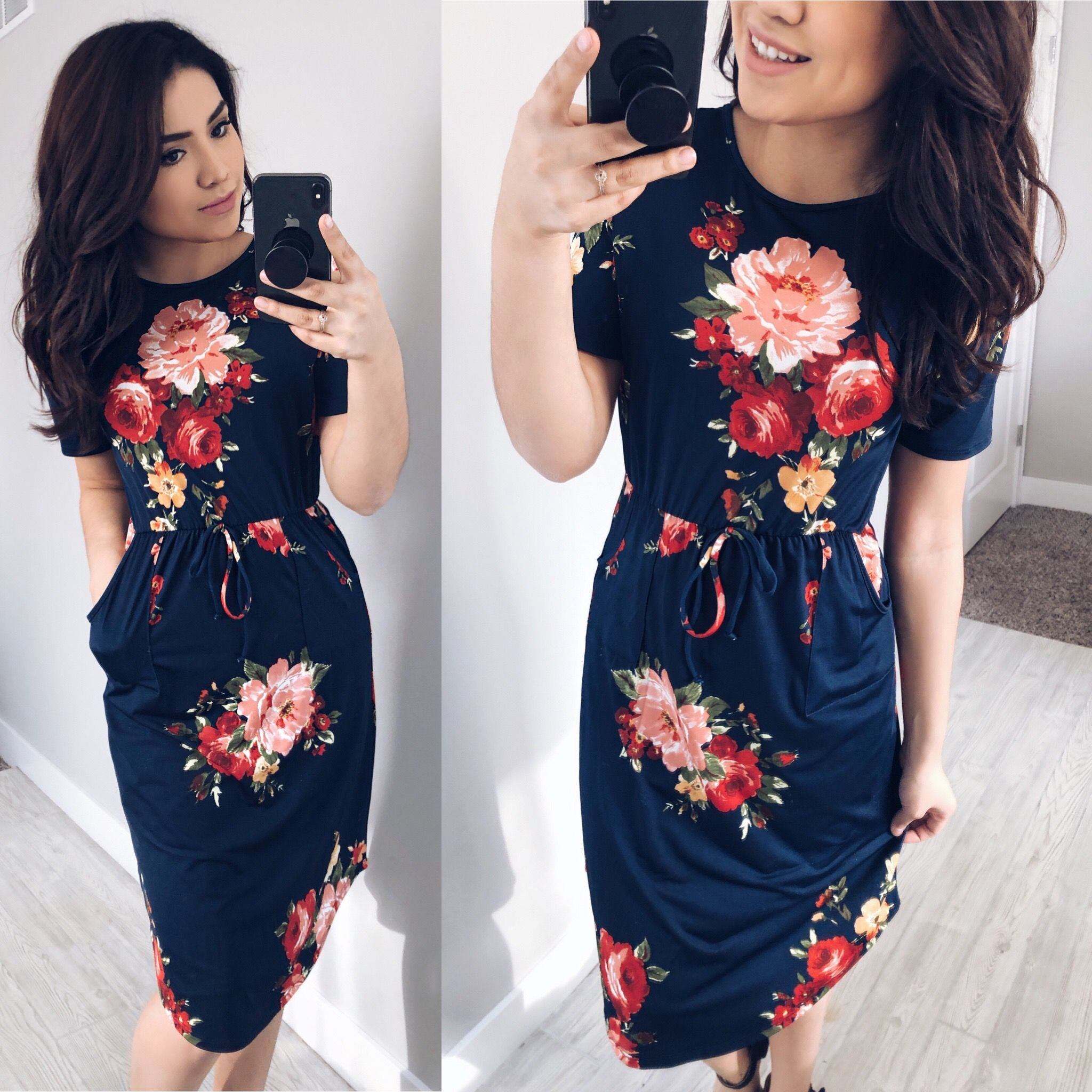 @thedarlingstyle Navy Floral Midi Dress | Floral Dress | Modest Fashion  Skirt Style. Modest Fashion. Getting Into The Spring Chic Style. Moda.