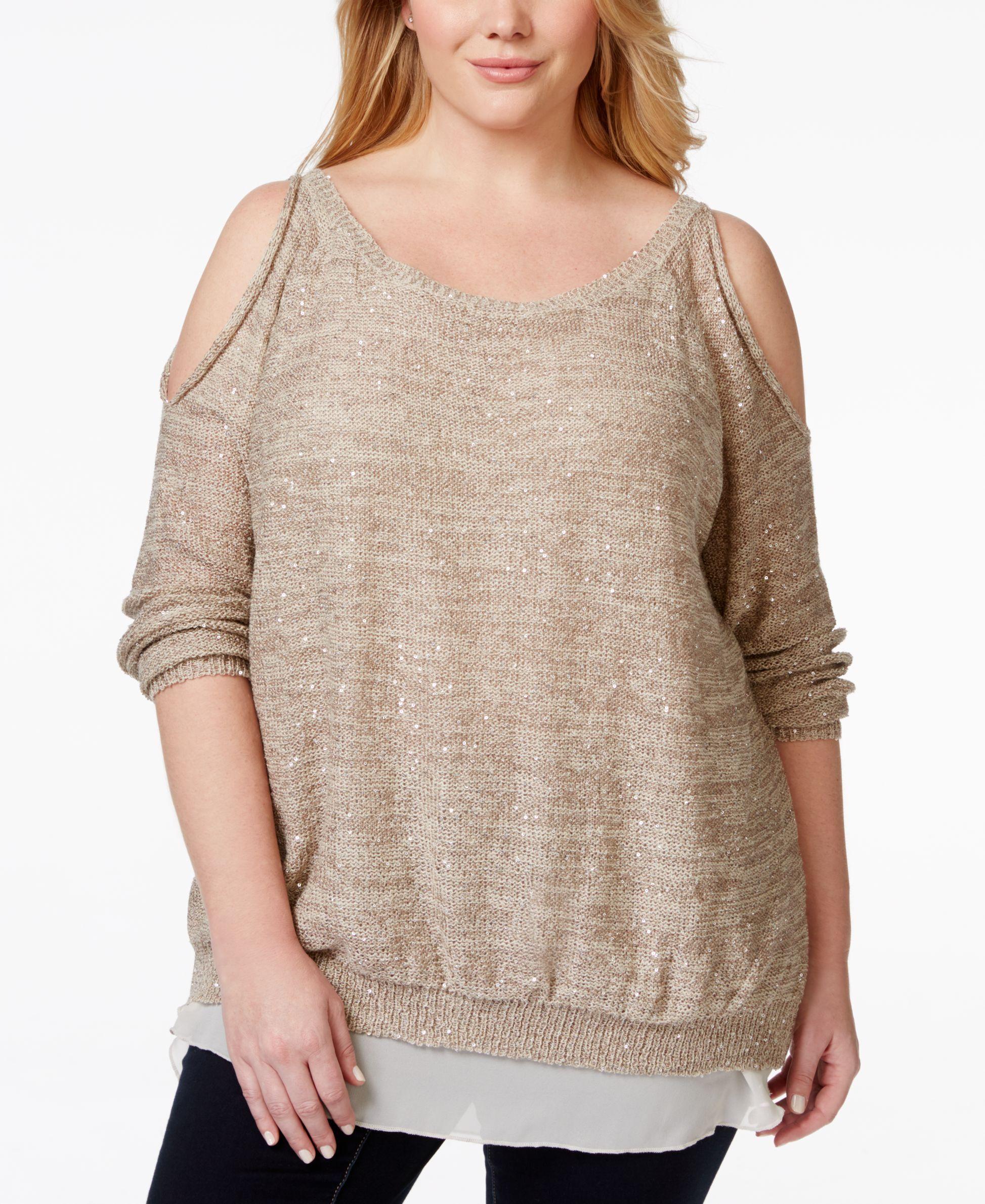 Jessica Simpson Plus Size Tearose Cold-Shoulder Sequin Top