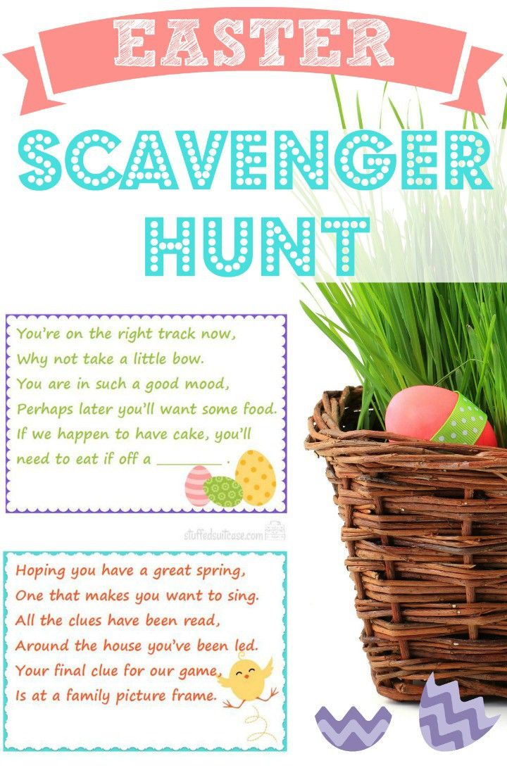 Family fun easter scavenger hunt kids easter baskets easter scavenger hunt clues family fun for your kids to find their easter basket gifts negle Gallery