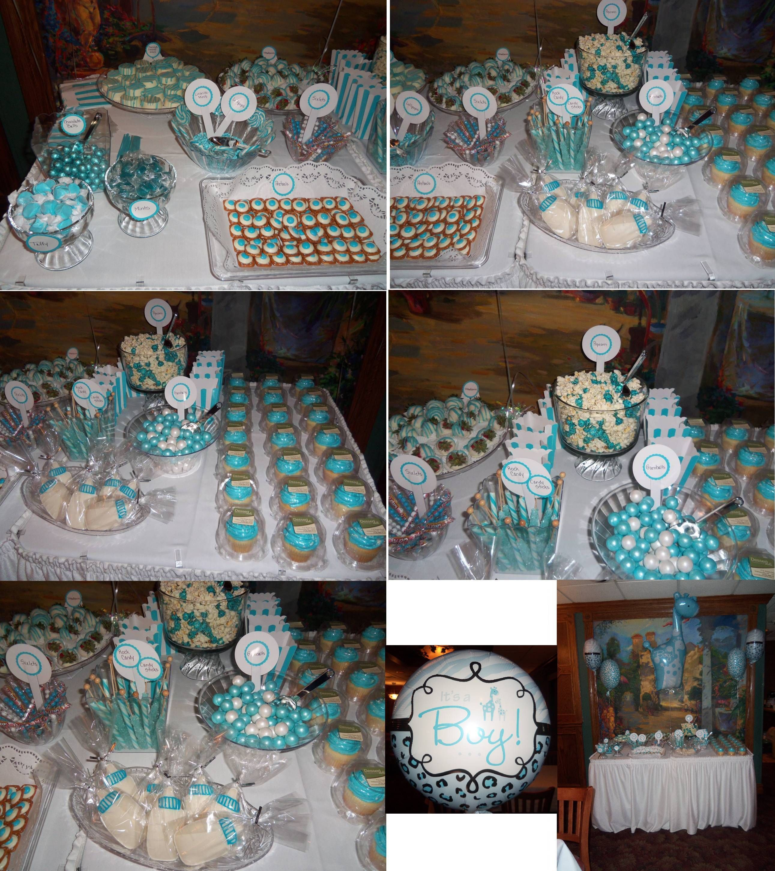 Tiffany blue u white candy bardessert table do for store party