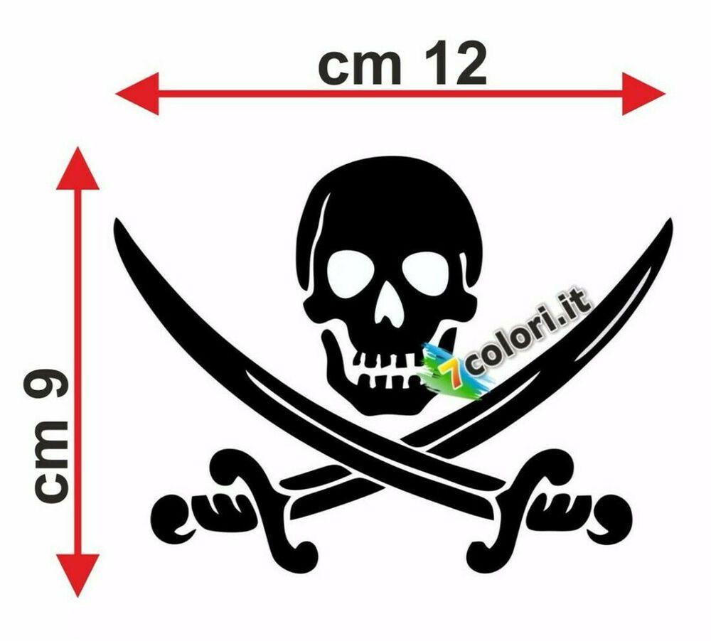 Sticker adesivi adesivo auto moto tuning pirata biker craneo teschio nero