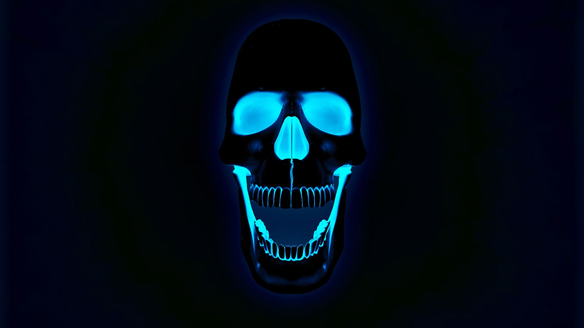 Glowing neon skull wallpaper