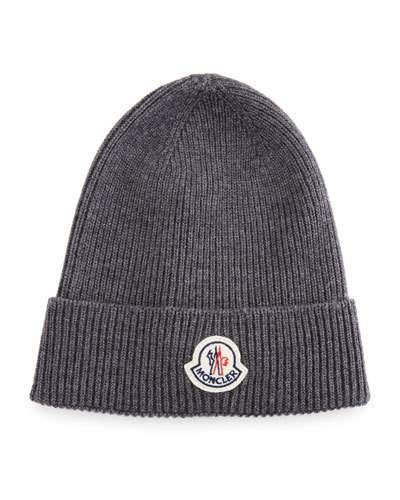 c4556322a20 MONCLER Ribbed Wool Logo Beanie Hat.  moncler