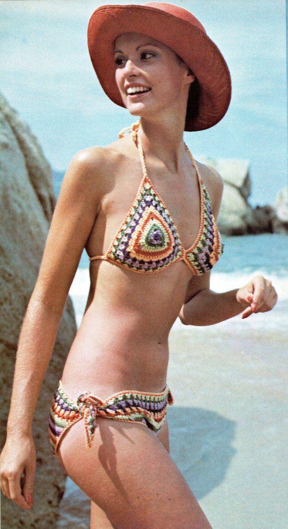 a2f378d76a582 1970s 2 Piece Bikini Bathing Suit Crochet Pattern Two Piece Swimsuit Bikini  Crochet Pattern PDF Inst